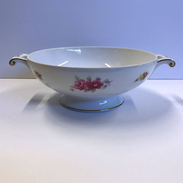 "Cherry China Charmaine 8-1/4"" Serving Bowl with Handles Roses Flowers"