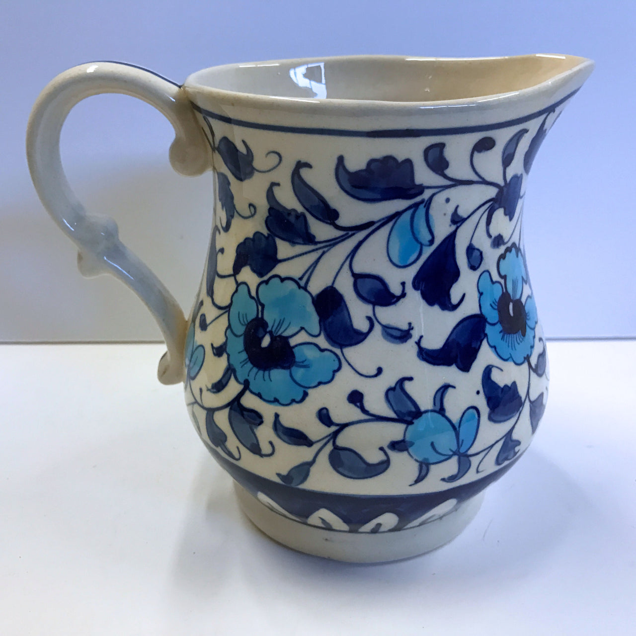 Multani Hand Painted Pitcher Vase Blue and White Flowers Floral Design 5-5/8""