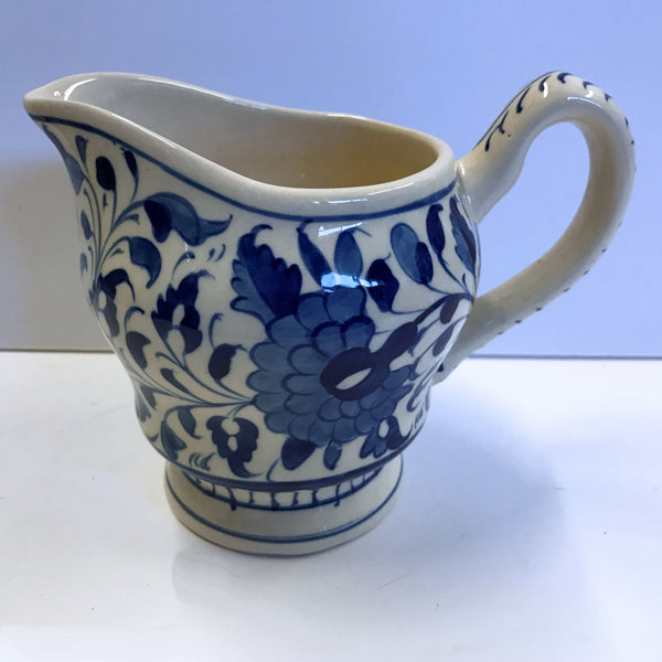 Multani Hand Painted Pitcher Vase Blue and White Flowers Floral Design 5-1/4""