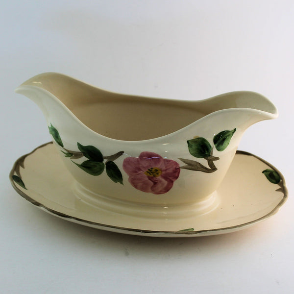 Vintage Franciscan Desert Rose Gravy Boat with Attached Under Plate Made In England