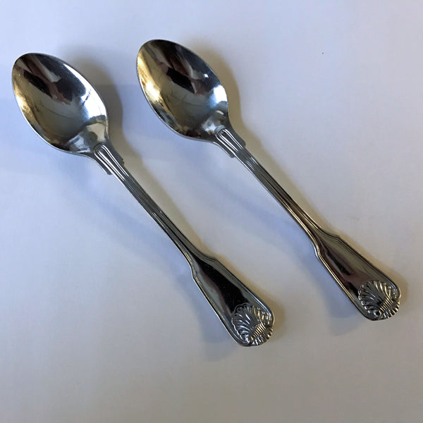 Vintage Towle Supreme Cutlery English Shell 2 Teaspoons Stainless 6-1/4""