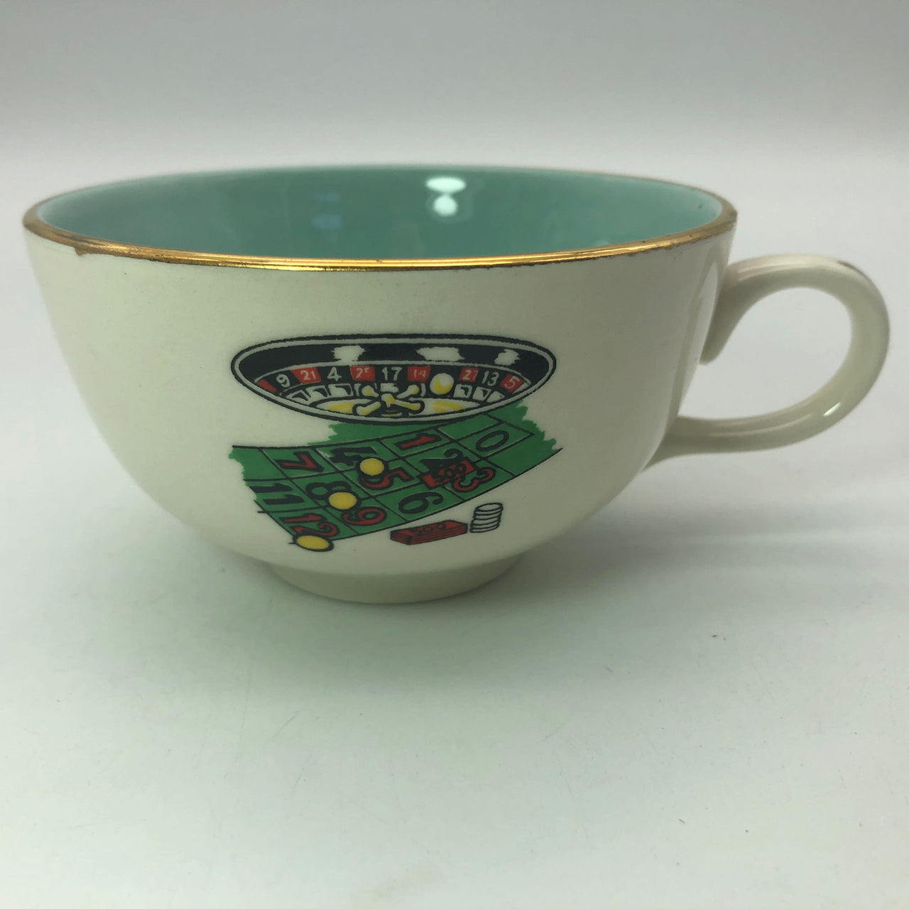 Vintage Gambling Theme Coffee Tea Cup Chips Roulette Teal Interior Gold Trim
