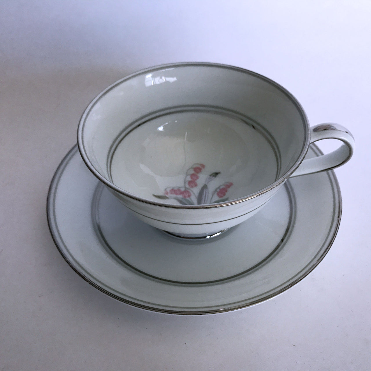 Vintage Noritake Crest 5421 Cup and Saucer Pink Flower Green Silver Stems