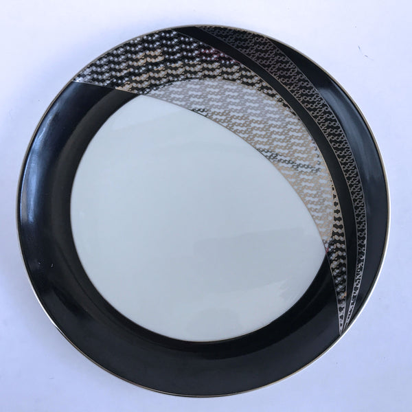 Pickard China Salad Plate Custom Pattern Black Rim Silver Ivory