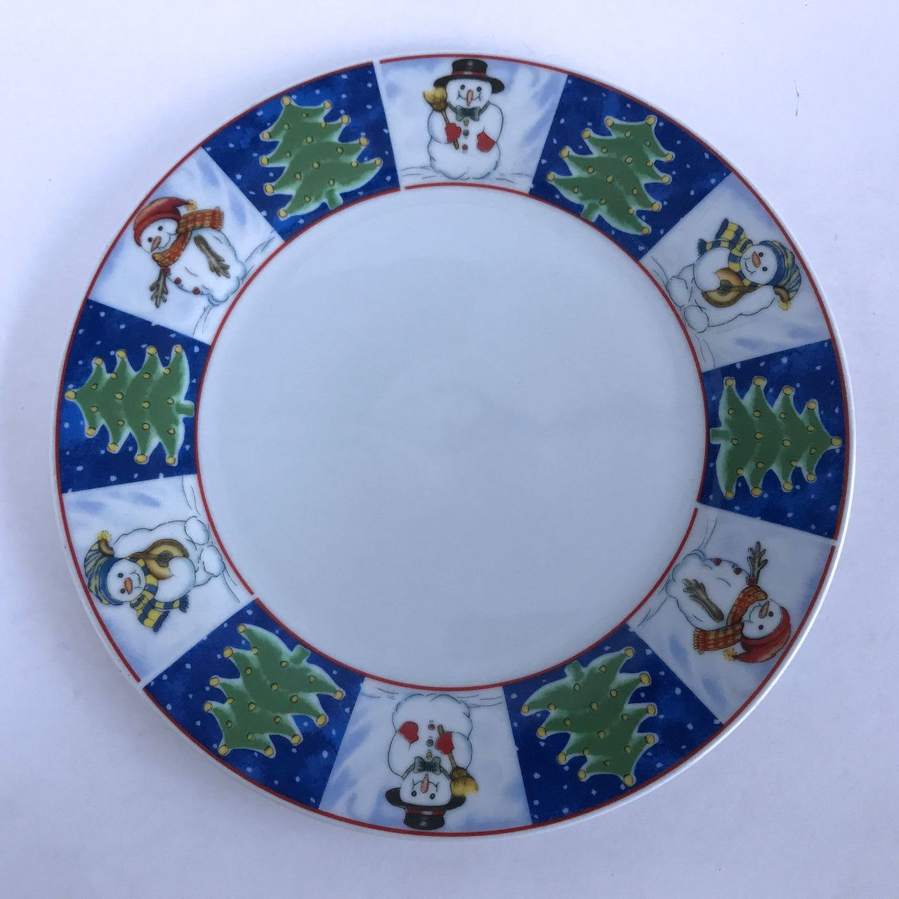 Royal Norfolk Snowmen Dinner Plate Christmas Trees Snowman Blue Red Green