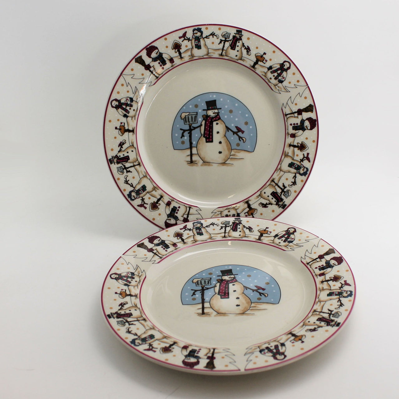 Cambridge Potteries Snowman Snowmen Serenade 2 Bread or Salad Plates Winter Snow 7-1/2""