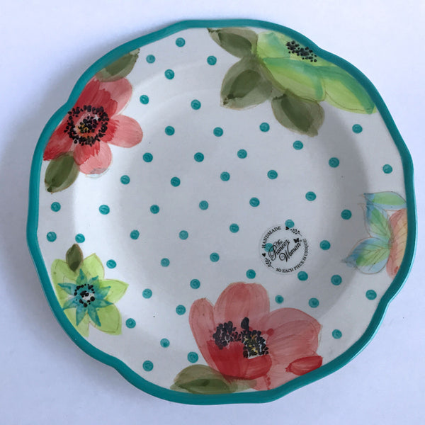 Pioneer Woman Flea Market Vintage Dinner Plate Aqua Dots Trim Flowers