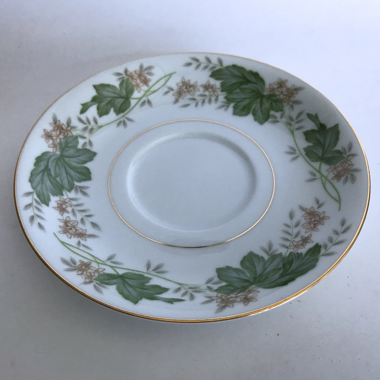 Vintage Noritake Daphne 5312 Saucer Tan Flowers Green Silver Leaves Gold