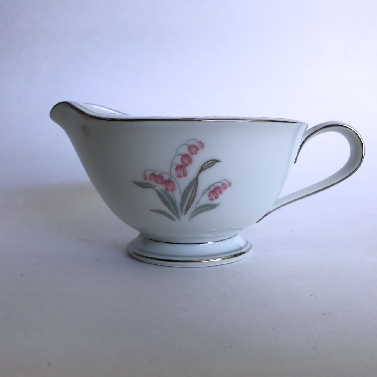 Vintage Noritake Crest 5421 Cream Pitcher Creamer Pink Flower Green Silver Stems