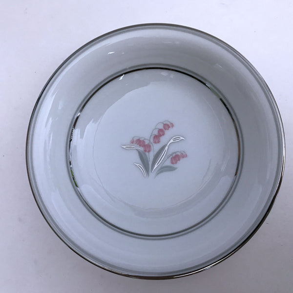 Vintage Noritake Crest 5421 Berry Sauce Bowl Pink Flower Green Silver Stems