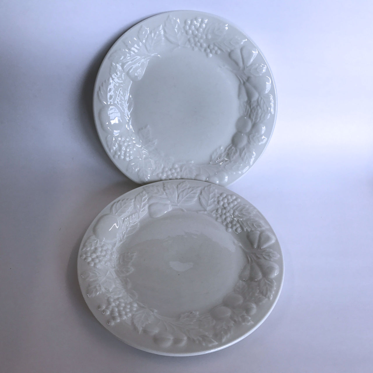 Vintage Gibson Fruit Off-White 2 Salad Plates Embossed Fruit