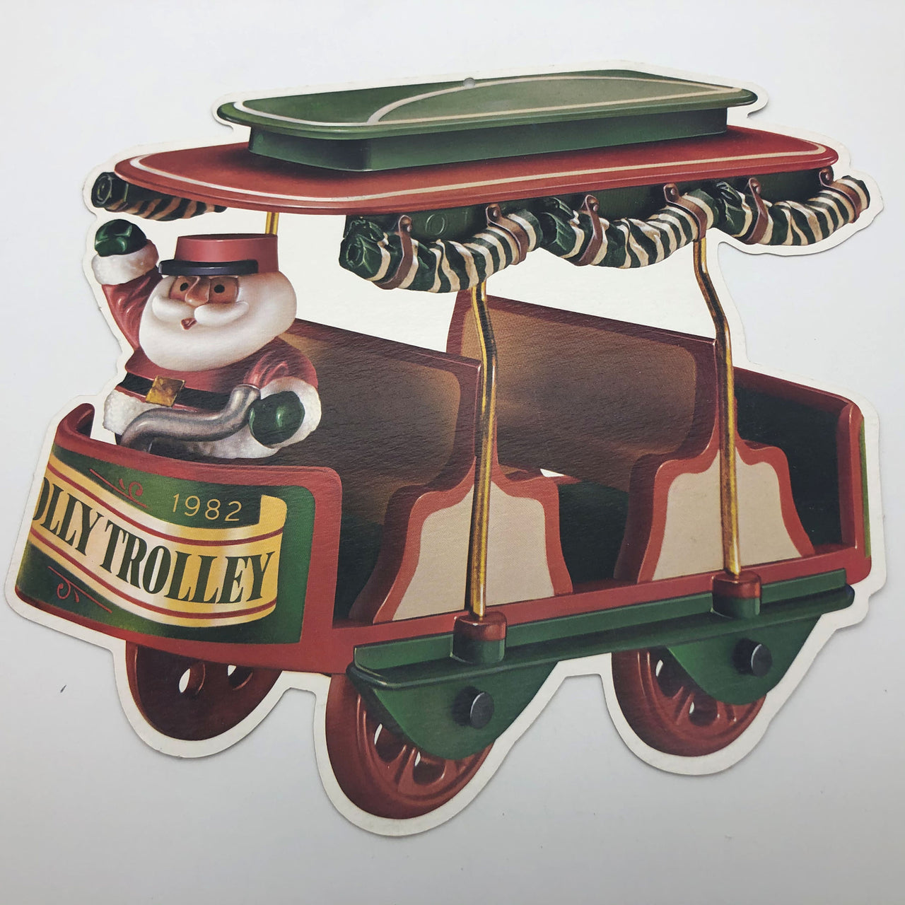 1982 Jolly Trolley Hallmark Santa 10 Cardboard Hanging Decorations 10-1/2""