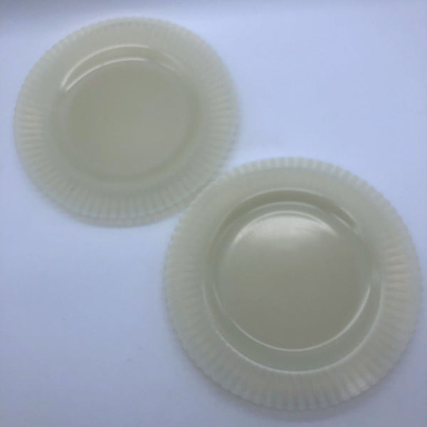 2 MacBeth-Evans Petalware Cremax Dinner Plates Plain Beige Depression Glass