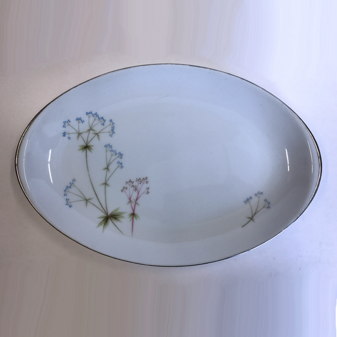 Vintage Meito Heather Oval Serving Platter Bowl Flowers 12""