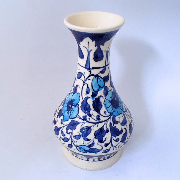 Multani Hand Painted Pottery Vase Blue and White Flowers Floral Design