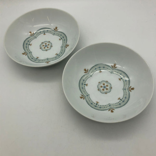 "Noritake Linfield 2 Bowls 6"" Blue Brown Flowers"