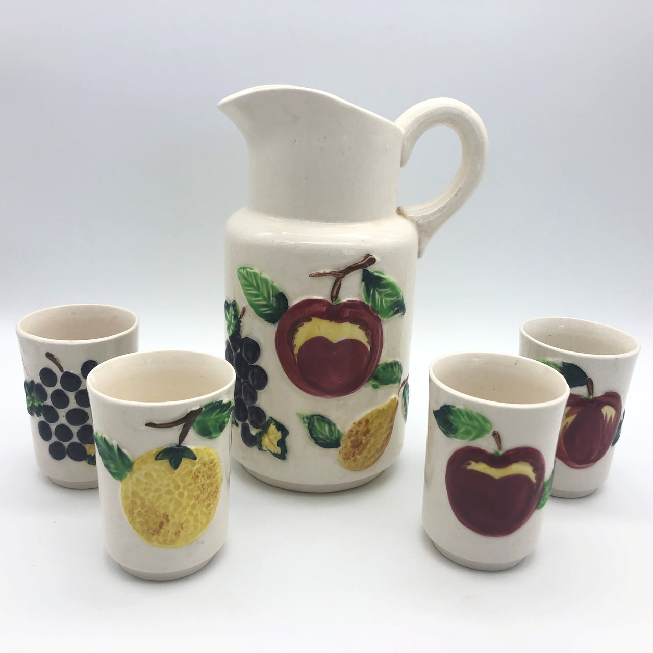 Ceramic Juice Pitcher and 4 Tumbler Glasses Cups Apple Lemon Grapes