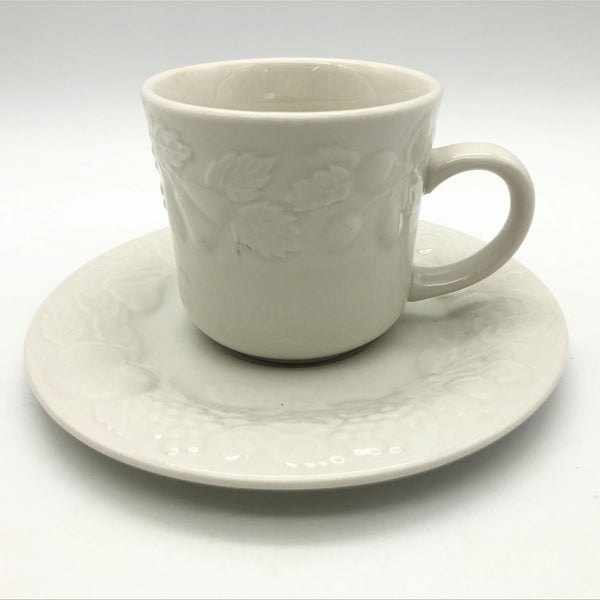 Vintage Gibson Fruit Off-White Cup and Saucer Embossed Fruit Design