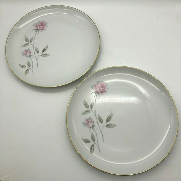 "Two Vintage Royal Continental China Fantasia Dinner Plates 10-1/4"" Pink Rose"