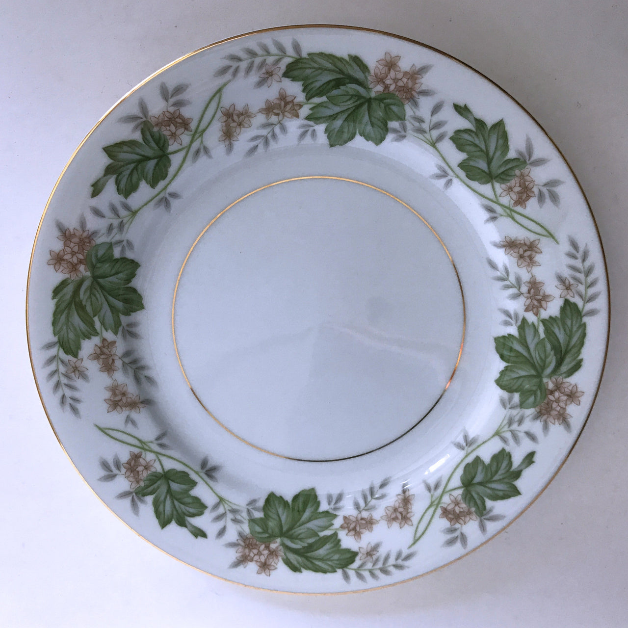 Vintage Noritake Daphne 5312 Salad Plate Tan Flowers Green Silver Leaves Gold