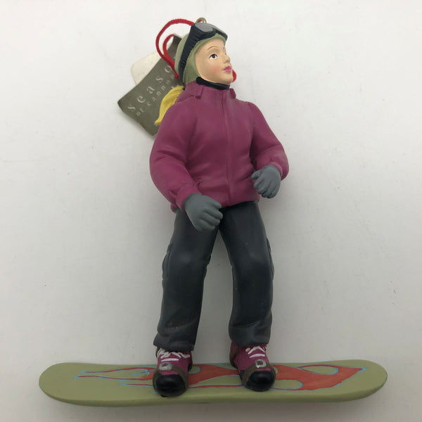 Snowboarder Christmas Ornament Girl Pony Tail Winter Jacket Has Paint Issue
