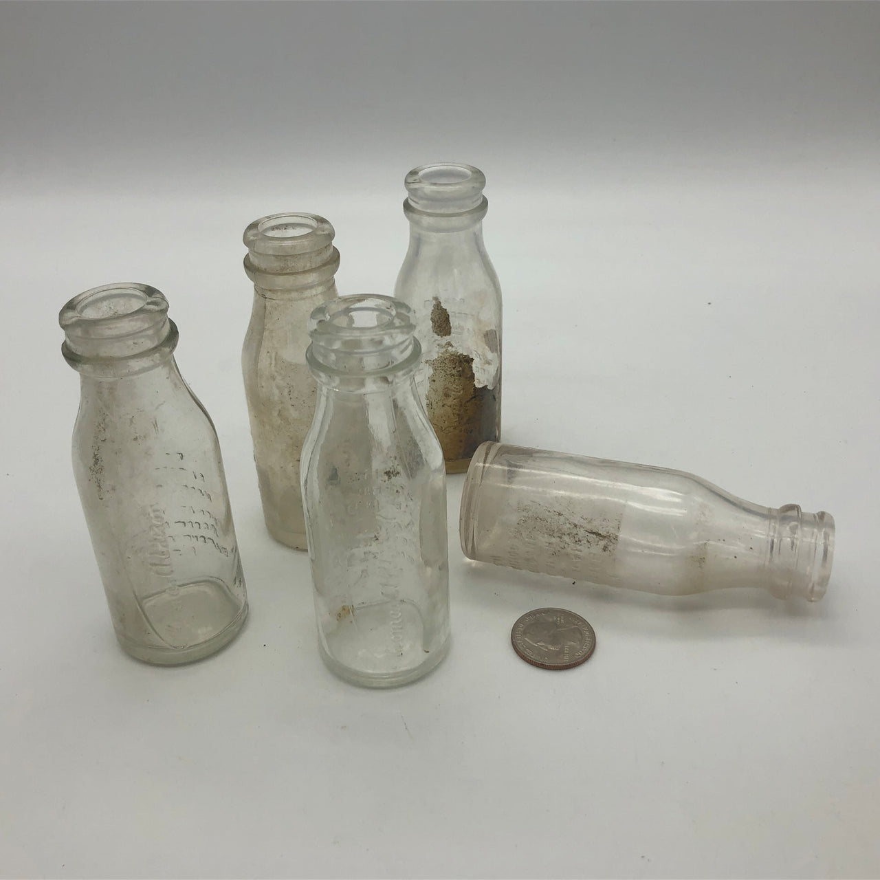 Vintage Glass Thomas A Edison Battery Oil Bottles Lot of 5 Bloomfield NJ