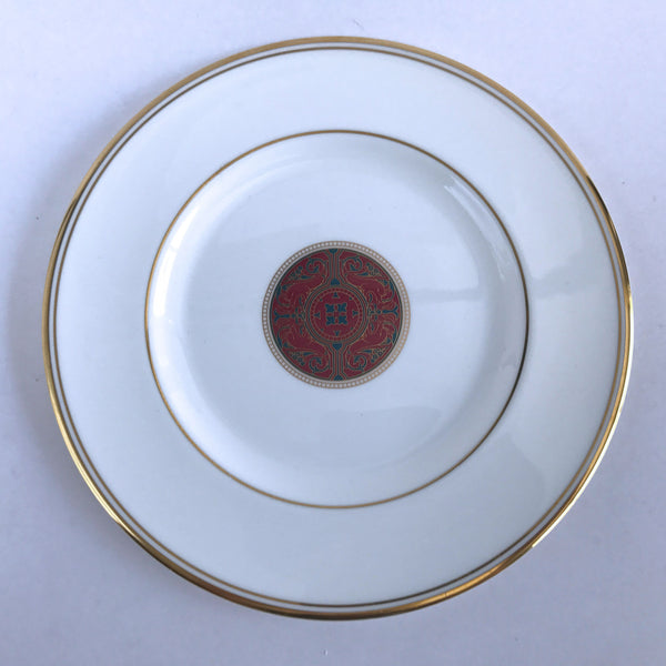 Royal Doulton Martinique Accent Salad Plate Maroon Teal Medallion Gold Trim 8""