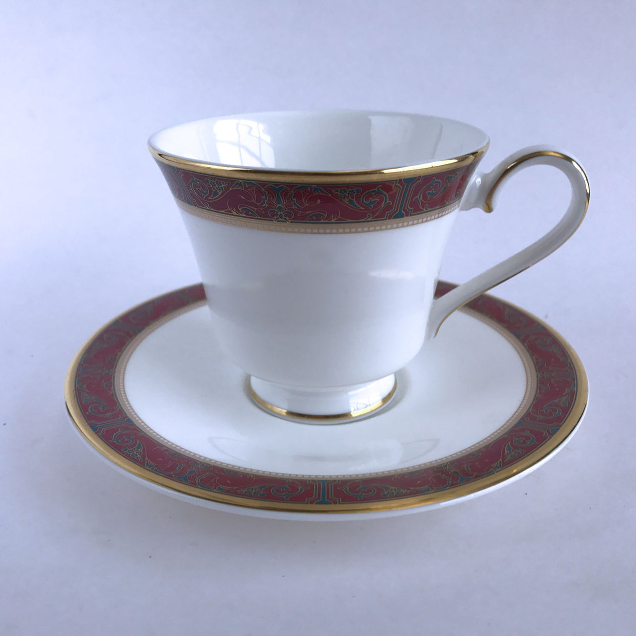 Royal Doulton Martinique Footed Cup and Saucer Maroon Teal Gold Trim