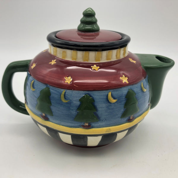 "Sakura Debbie Mumm Tea Pot Christmas Pine Trees Moon 4"" Tall"