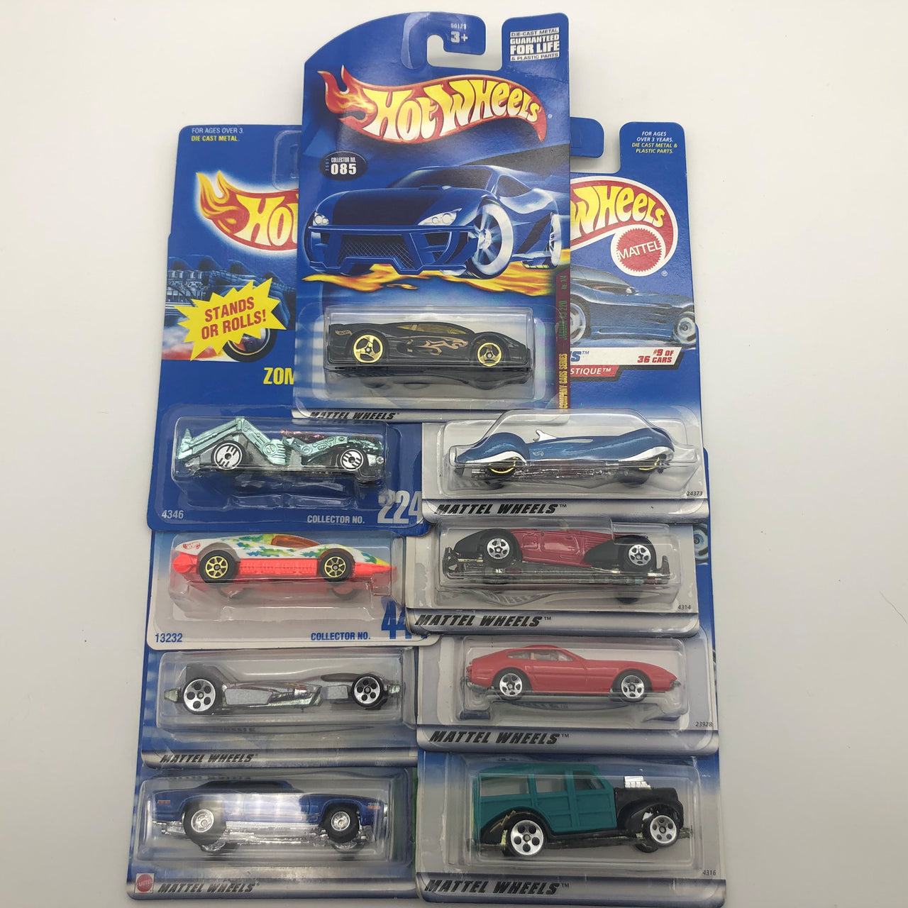 9 Assorted Mattel Hot Wheels Cars Phaeton Plymouth GTX Woodie Auburn Ferrari New