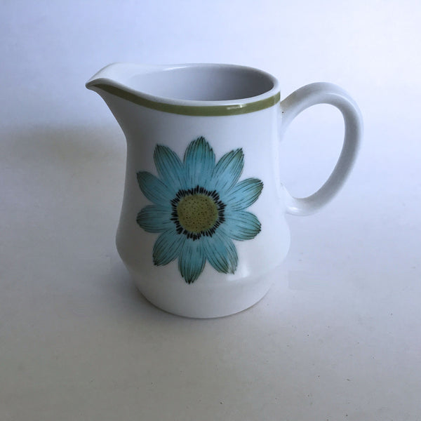 Vintage Noritake Up-Sa Daisy 9001 Creamer Cream Pitcher Blue Flower Green Trim