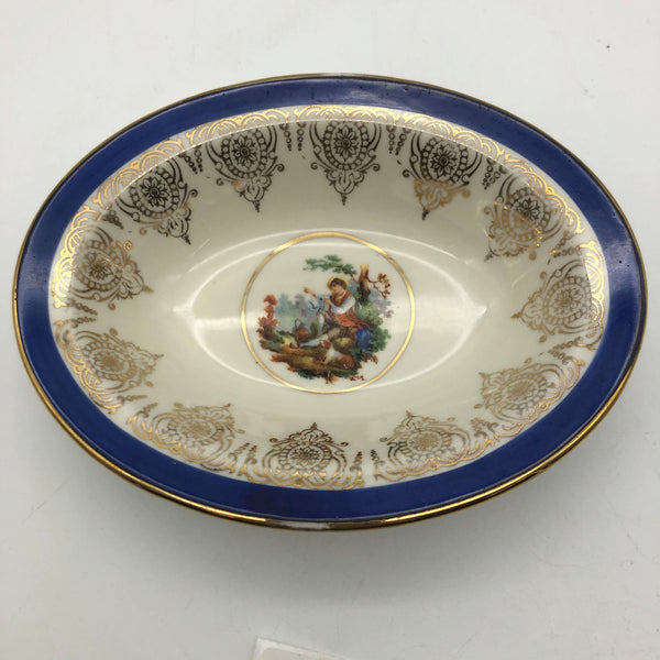 22 Carat Gold Plate China Oval Bowl Cobalt Rim USA Man Sitting with Dog Forest