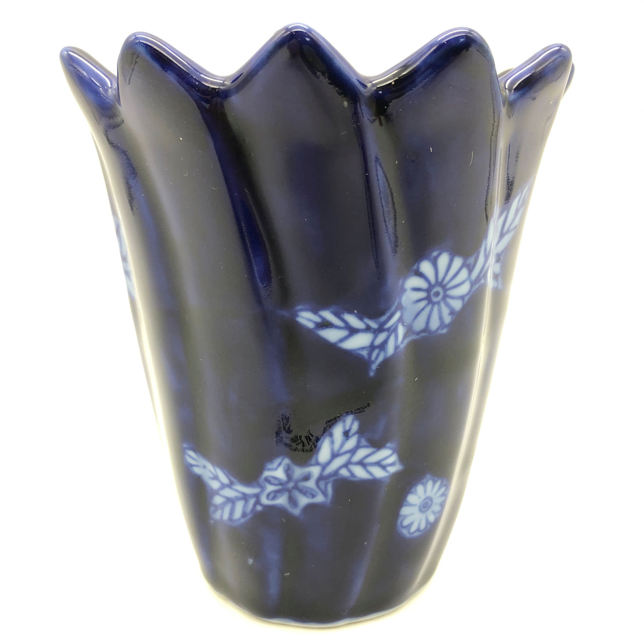 "Bombay Company Blue Ceramic Candle Holder and Candle 4-1/4"" Tall"