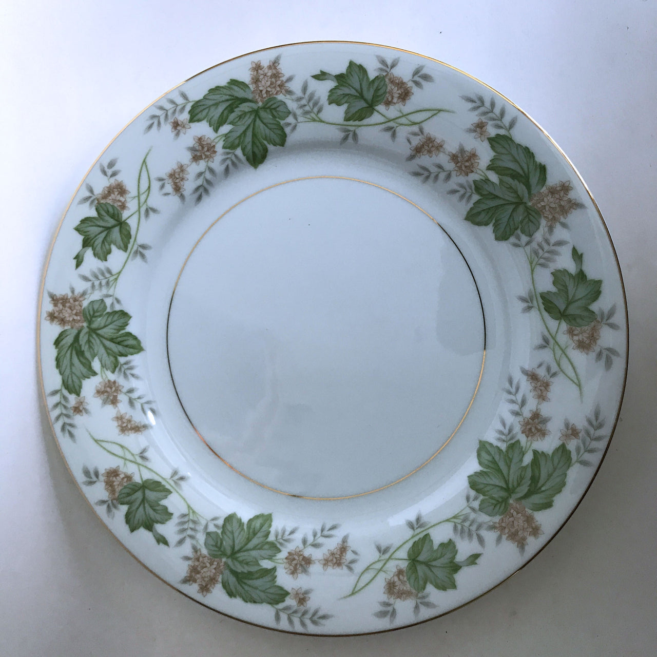 Vintage Noritake Daphne 5312 Dinner Plate Tan Flowers Green Silver Leaves Gold