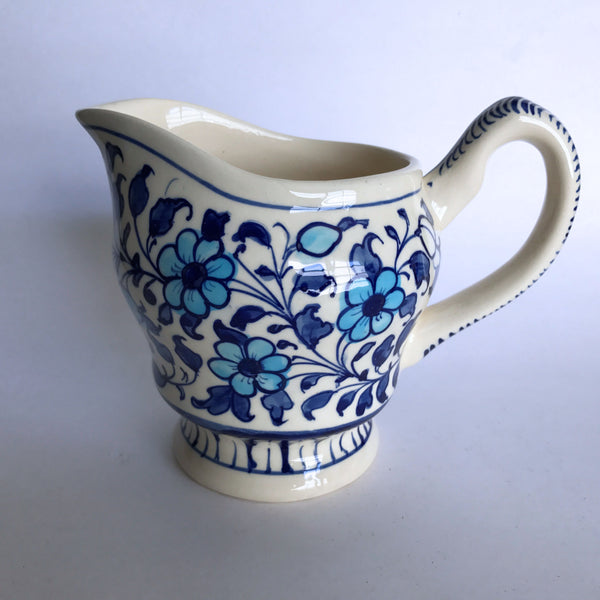 "Multani Hand Painted Pitcher Vase Blue and White Flowers Floral Design 5-1/4"" Tall"