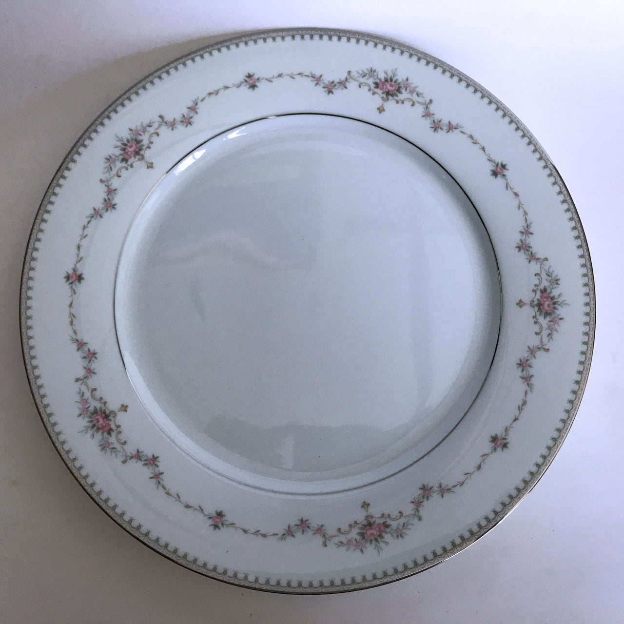 Vintage Noritake Fairmont 6102 Dinner Plate Pink Flower Green Dots Platinum Trim
