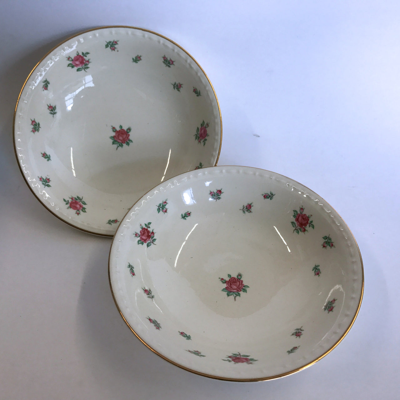Vintage Homer Laughlin Rambler Rose 2 Berry Sauce Dessert Bowls American Vogue