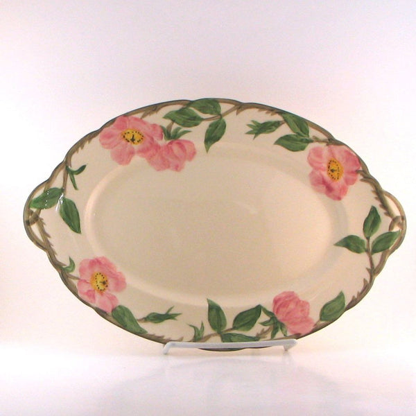 "Franciscan Desert Rose Oval Serving Platter 12-1/2"" 1949-53 Black Backstamp"