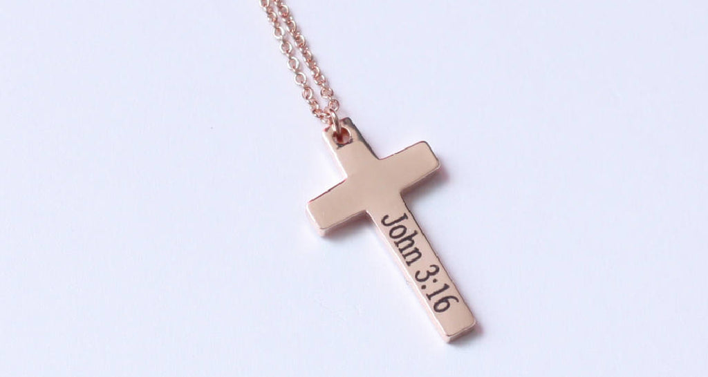 Bible Verse Engraved Cross Necklace