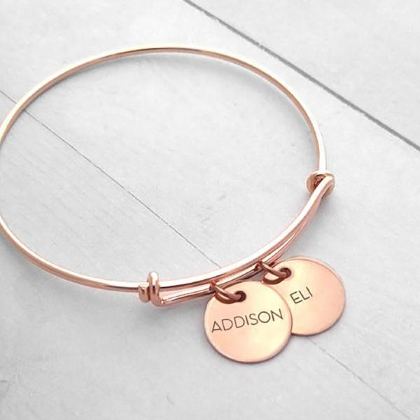your or expandable bracelet hand discs gracefully dates michael bangle bangles name products initial and made silver an wire one personalized with stamped rachel