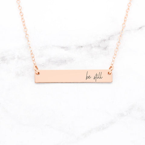 Believe - Vertical Bar Necklace - Sterling Silver Inspirational Necklace