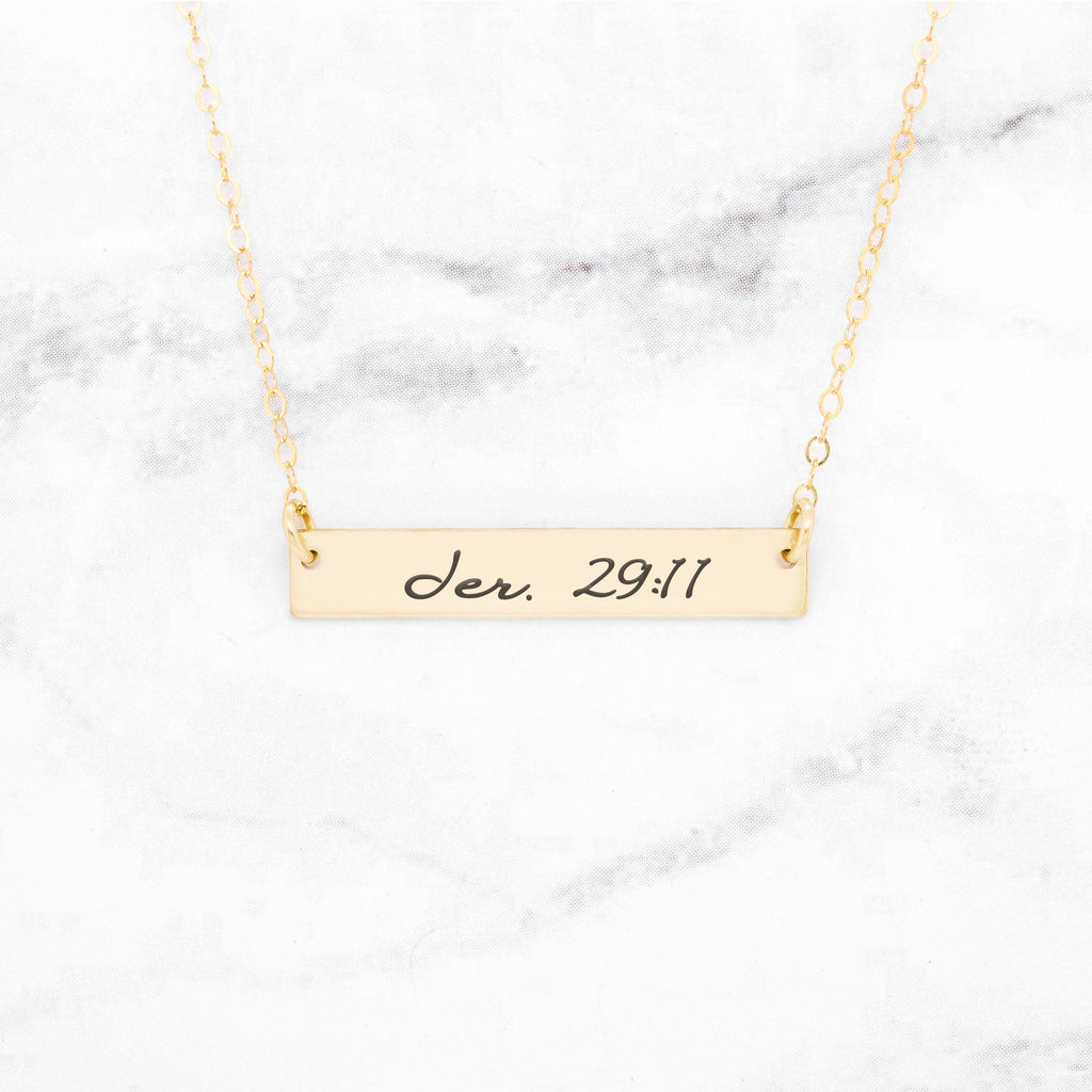 Bible Verse Necklace - Gold Bar Necklace