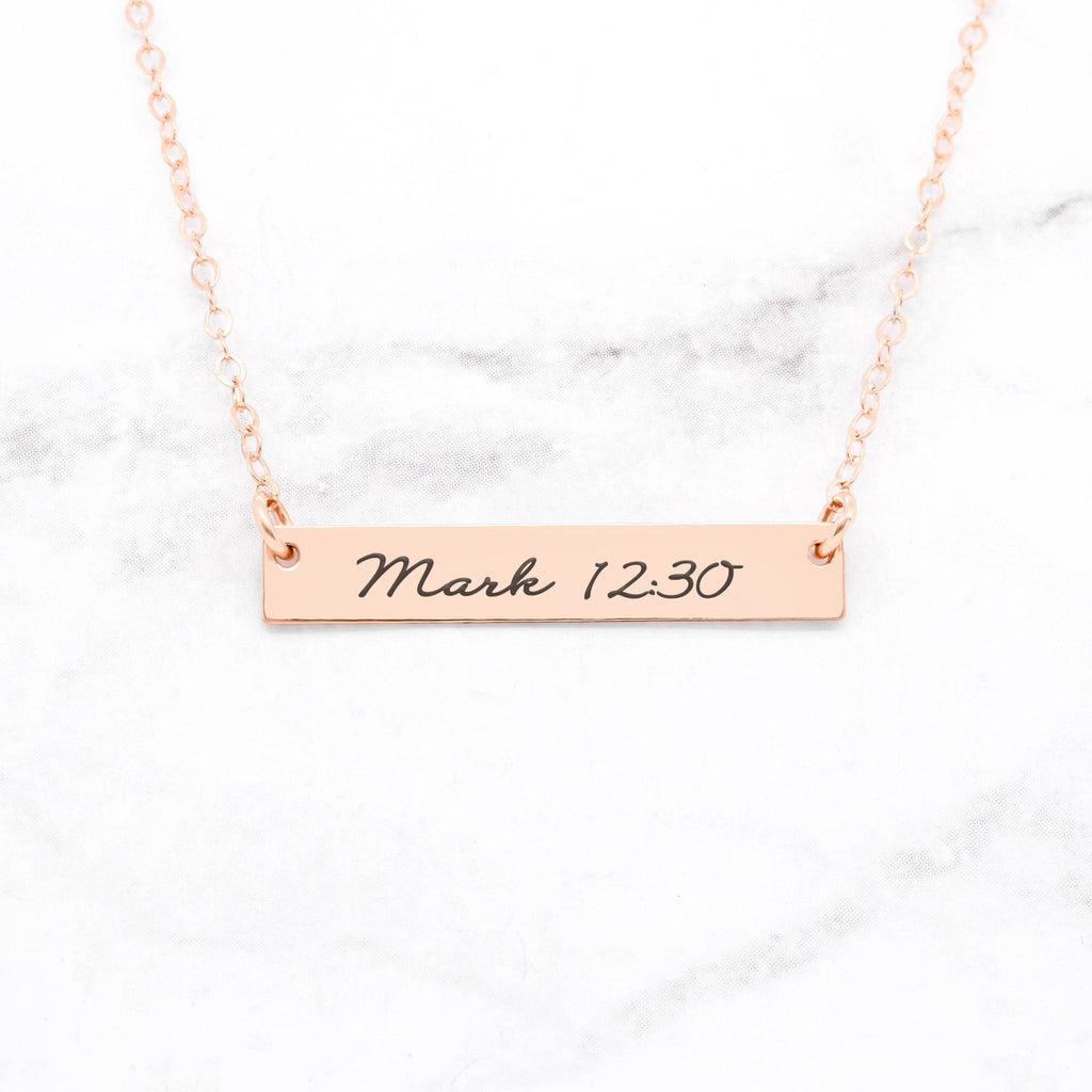 Bible Verse Necklace - Rose Gold Bar Necklace