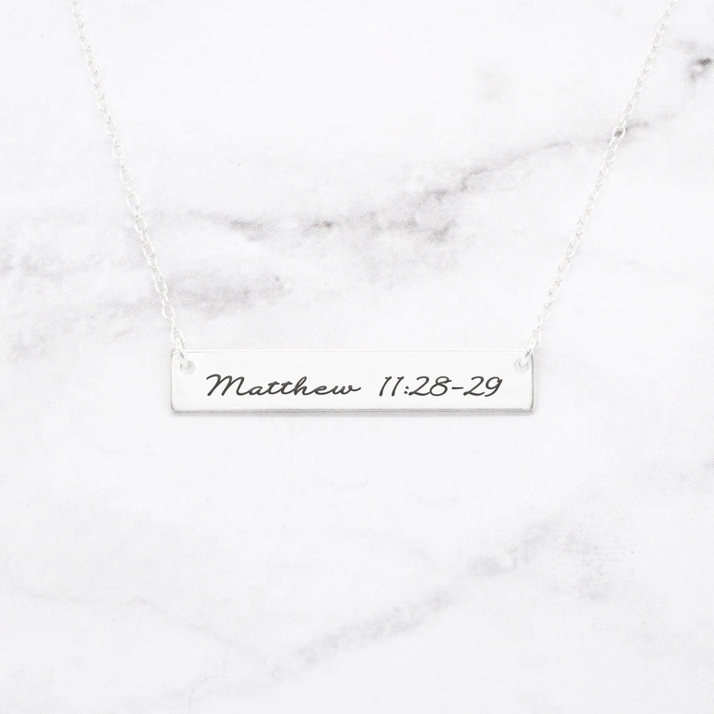 Bible Verse Necklace - Sterling Silver Bar Necklace