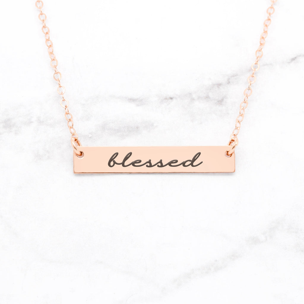 Blessed Necklace - Rose Gold Bar Necklace