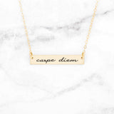 Carpe Diem Necklace - Gold Quote Necklace