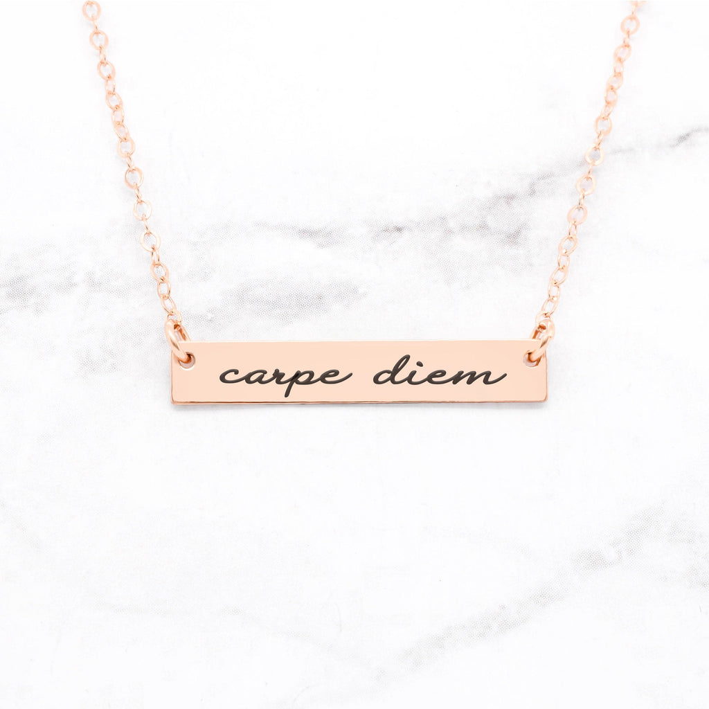 Carpe Diem Necklace - Rose Gold Quote Necklace