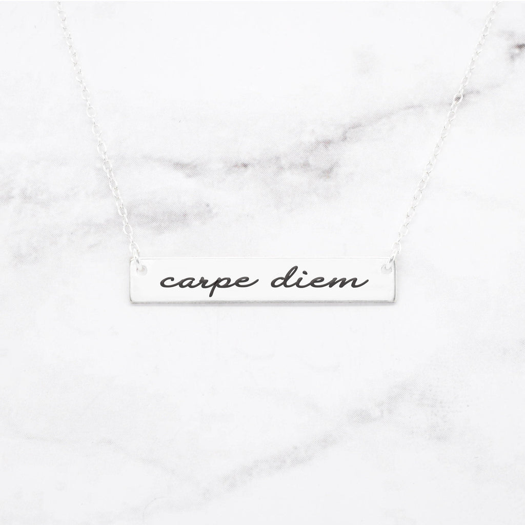 Carpe Diem Necklace - Sterling Silver Quote Necklace