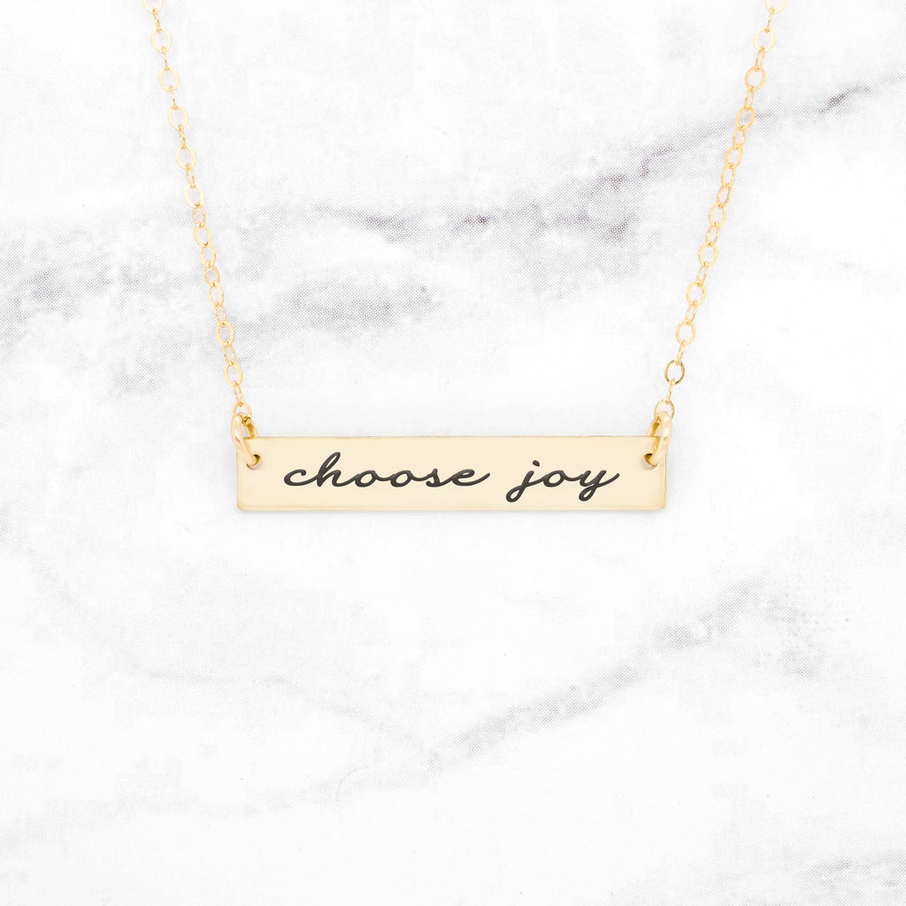 Choose Joy - Gold Quote Bar Necklace