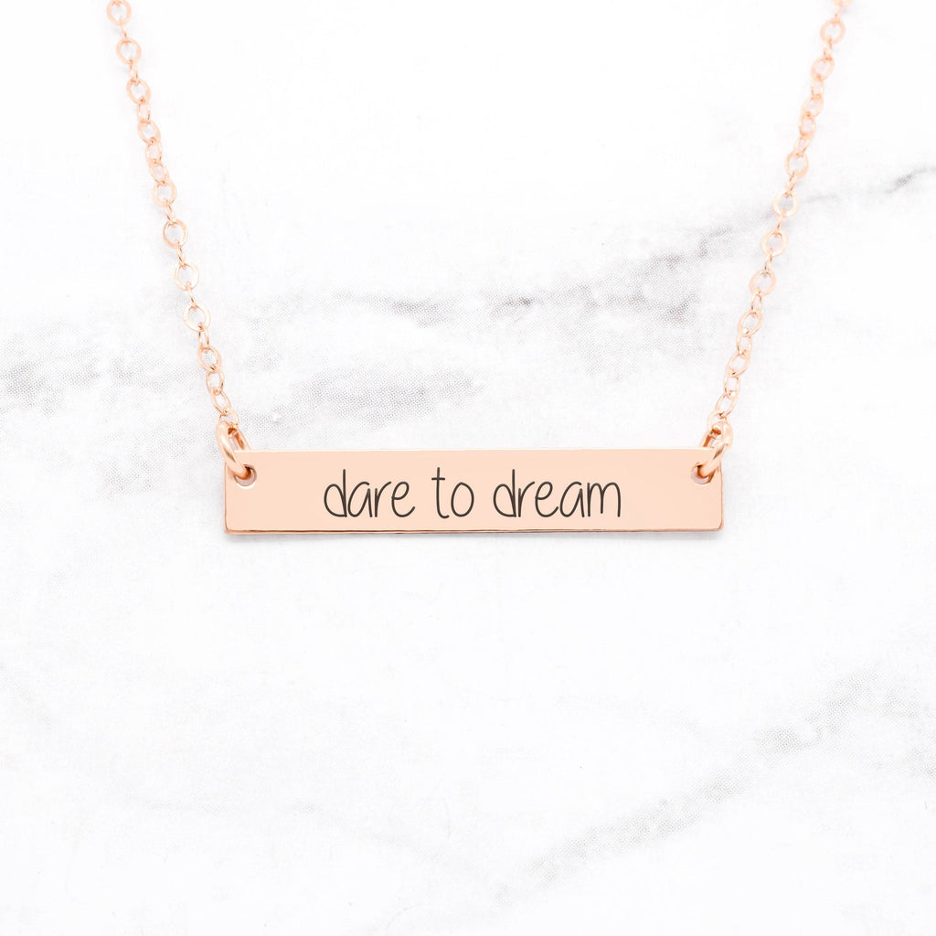 Dare To Dream - Rose Gold Bar Necklace